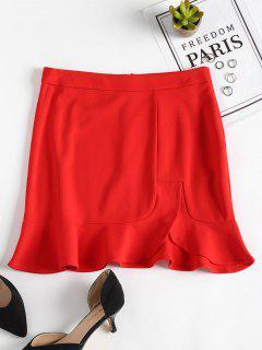 Slit Ruffles Mini Skirt - Red S