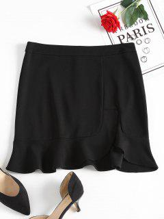 Slit Ruffles Mini Skirt - Black S