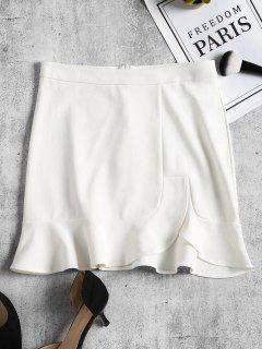 Slit Ruffles Mini Skirt - White M