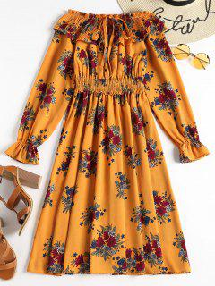 Overlay Off Shoulder Long Sleeve Dress - School Bus Yellow