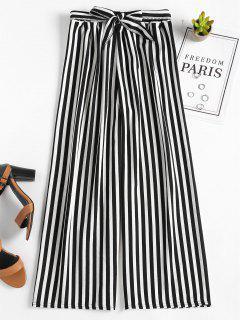 Pantalones Anchos De Cintura Alta Rayas - Negro