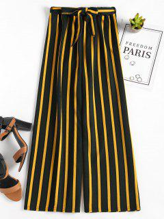 Wide Leg Belted Striped Pants - Golden Brown