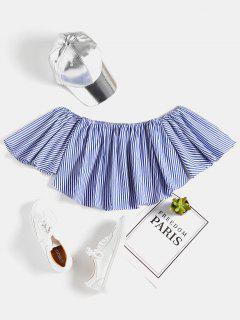 Stripes Off Shoulder Top - Blue