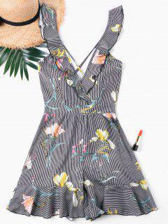 Striped Flower Ruffle Romper - S