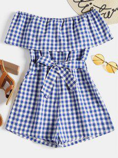 Plaid Off Shoulder Romper - Blue M