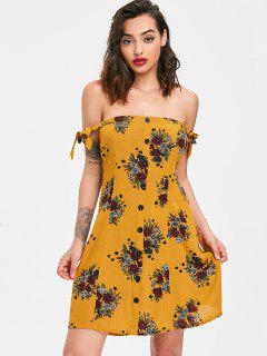 Off The Shoulder A Line Dress - School Bus Yellow M