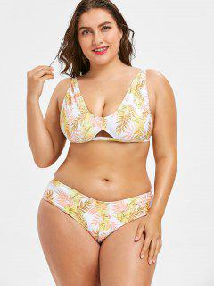 Leaves Print Plus Size Bikini Swimsuit - Yellow 1x