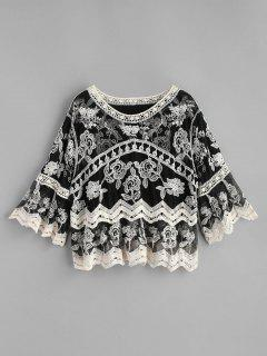 Crochet Panel Embroidered Top - Black