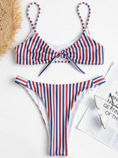 Farbiger Streifen Bralette Bikini Mit Hohem Bein - Multi L