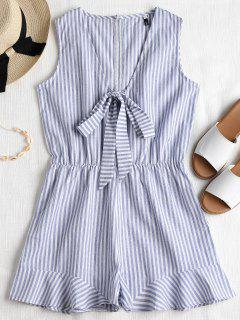 Striped Sleeveless Knotted Romper - Blue Gray S
