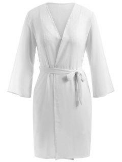Ensemble Babydoll En Mousseline Et Robe Pyjama - Blanc Xl