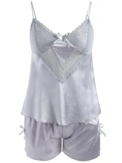 Lace Panel Satin Camis And Shorts - Blue Gray M