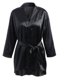 Lace Panel Satin Babydoll And Kimono - Black M