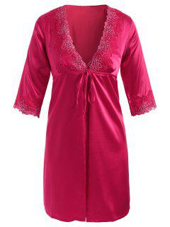 Embroidered Satin Babydoll And Kimono - Rose Red M