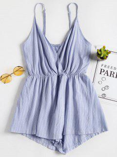 Striped Overlap Romper - Light Sky Blue M