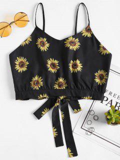 Sonnenblume Zurück Gebunden Cami Top - Schwarz S
