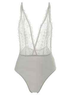 Lace Panel Teddy - White S