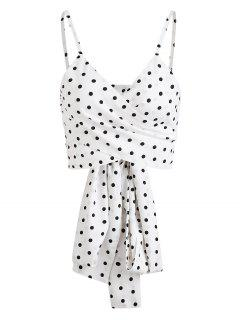 Polka Dot Cami Wrap Top - White M