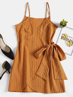 Mini Striped Wrap Slip Dress - School Bus Yellow S