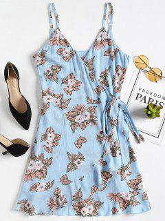 Floral Ruffles Wrap Dress - Windows Blue M
