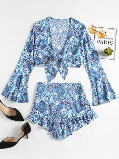 Tied Printed Crop Top And Smocked Shorts - Blue M