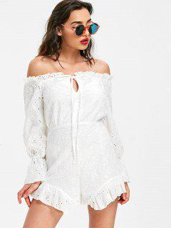 Off The Shoulder Eyelet Romper - White Xl