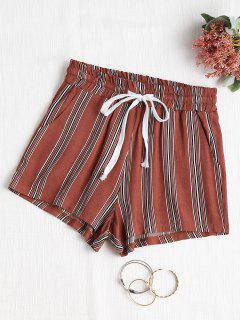 High Waisted Striped Shorts - Chestnut L