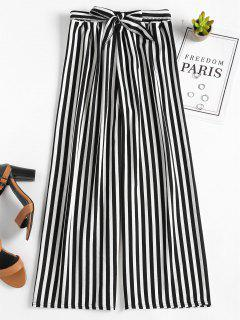High Waisted Stripes Wide Leg Pants - Black