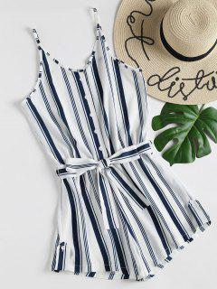 Buttons Striped Belted Romper - White M