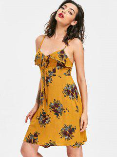Lace Up Floral Sun Dress - School Bus Yellow M