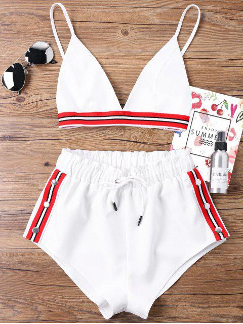 womens Bra Two Piece Shorts Tracksuit - WHITE S Mobile
