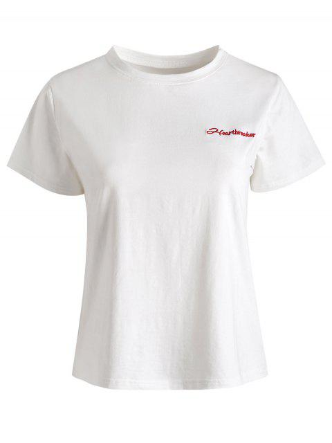 latest Cotton Letter Embroidered Top - WHITE L Mobile