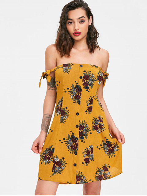 outfit Off The Shoulder A Line Dress - SCHOOL BUS YELLOW S Mobile