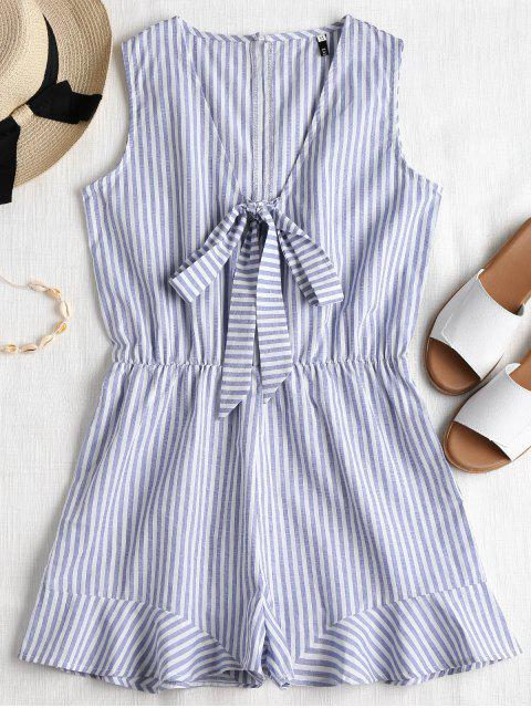 trendy Striped Sleeveless Knotted Romper - BLUE GRAY L Mobile