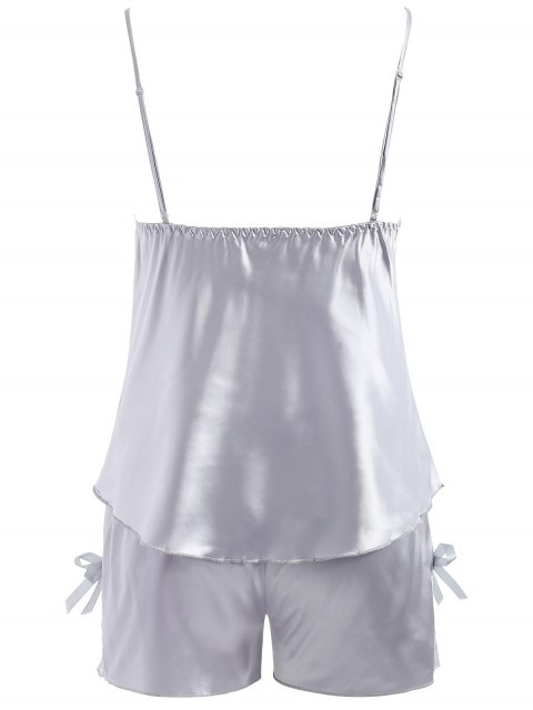ladies Lace Panel Satin Camis and Shorts - BLUE GRAY XL Mobile