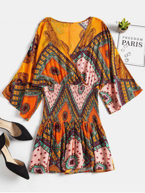 latest Printed Smocked Waist Surplice Dress - SCHOOL BUS YELLOW S Mobile