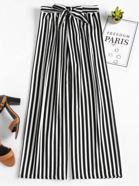 Pantalones anchos de cintura alta rayas - Negro Talla única Mobile