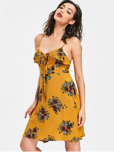 shops Lace Up Floral Sun Dress - SCHOOL BUS YELLOW S Mobile