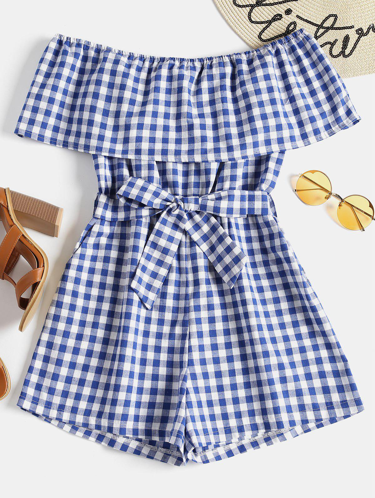 Plaid Off Shoulder Romper 261114803