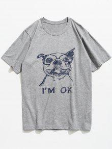 Con M Gris De Camiseta Corta Claro Estampado Perros De Manga Animal qwwRvUtnf