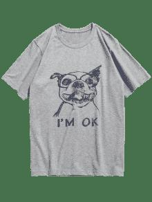 Gris De Corta Manga Camiseta Con De M Perros Claro Estampado Animal FqPX84w