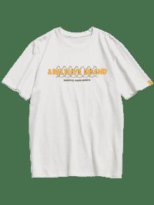 Algod Manga 243;n Con Corta Estampado L Camiseta De Blanco XTFAwZ