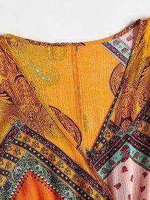 Cintura Afeitada Vestido Amarillo De Autob Impresa Sobrepelliz De wqEPtPCR