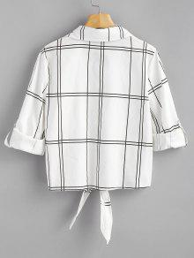 Cuadros Camisa Botones Anudada L Con Blanco A BqSOUrEwS