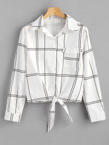 زر أسفل منقوشة قميص معقود - أبيض Xl