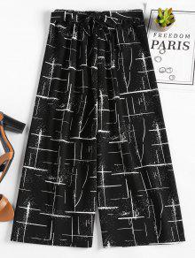 سروال واسع مطبع - أسود