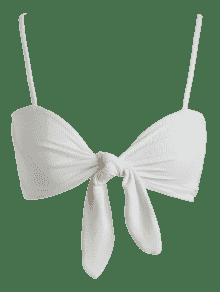 Blanco Tie M Smocked Delantera Sin Camiseta Mangas qXwcS1FT