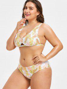 o De Con De Bikini L Traje Hojas Ba Amarillo Estampado nOxvg7g