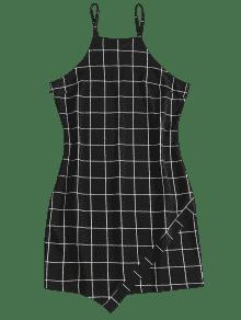 L Dress Mini Slip Checked Negro Bgz1XcU4