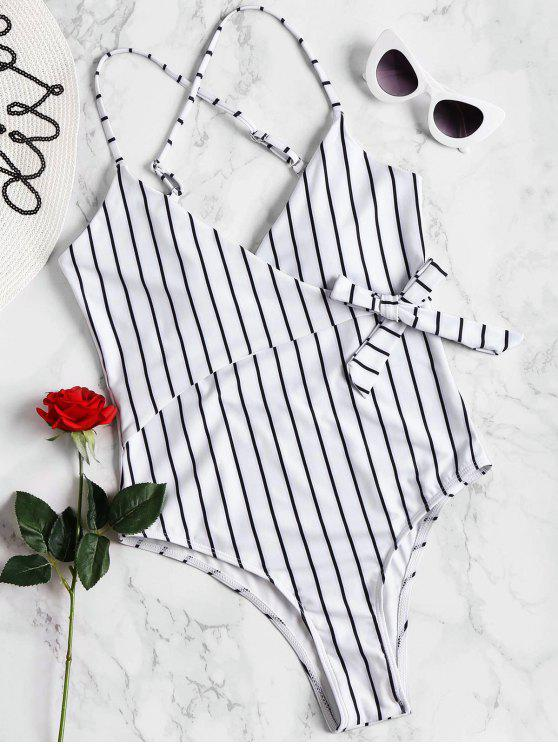 womens Striped Wrap Swimsuit - WHITE S